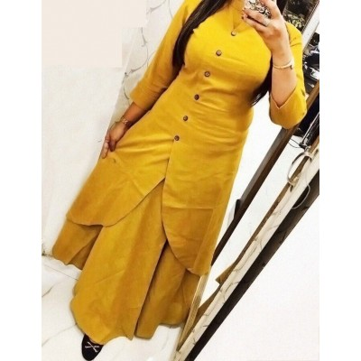 Fabmaza Fashion Yellow Slub Cotton Fancy Designer Slit Kurta