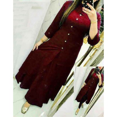 Fabmaza Fashion Maroon Slub Cotton Fancy Designer Slit Kurta