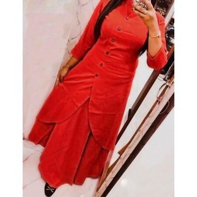 Fabmaza Fashion Red Slub Cotton Fancy Designer Slit Kurta