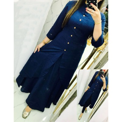Fabmaza Fashion Navy Blue Slub Cotton Fancy Designer Slit Kurta