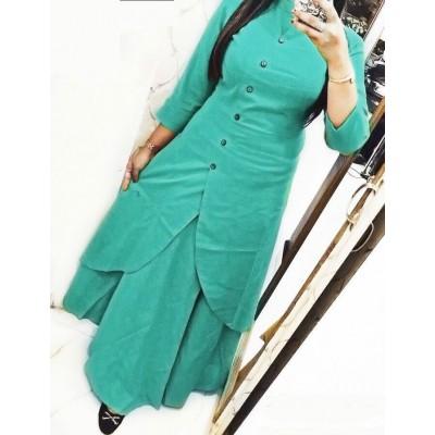 Fabmaza Fashion Sky Blue Slub Cotton Fancy Designer Slit Kurta