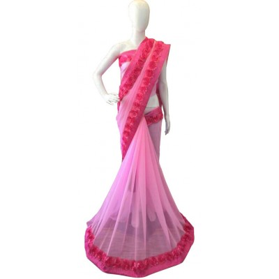 Fabmaza Fashion Pink Georgette Ribbon Worked Saree