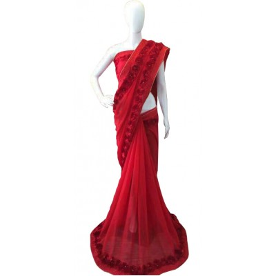 Fabmaza Fashion Red Georgette Ribbon Worked Saree