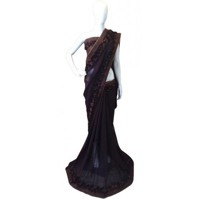 Fabmaza Fashion Brown Georgette Ribbon Worked Saree
