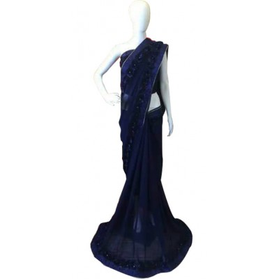Fabmaza Fashion Navy Blue Georgette Ribbon Worked Saree