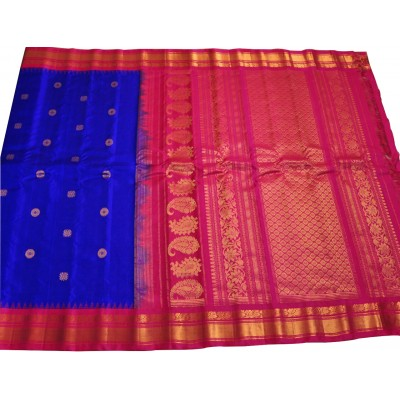 Hanumanthu Royal blue Pure Silk Gadwal Handloom Saree