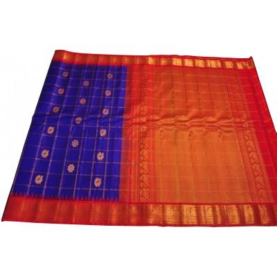 Hanumanthu Royal blue Pure Silk Gadwal Handloom Saree