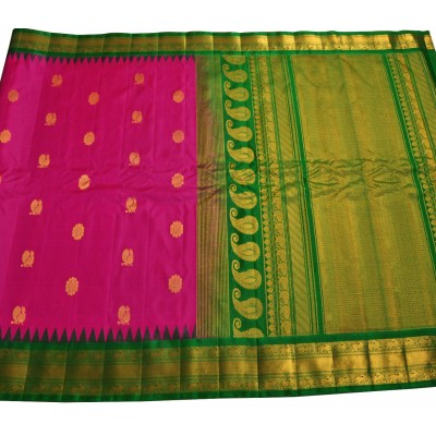 Hanumanthu Traditional Magenta and Green Pure Silk Gadwal Handloom Saree