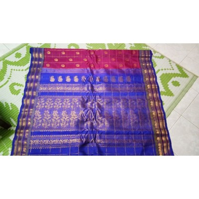 Hanumanthu Magenta Silk Gadwal Handloom Saree