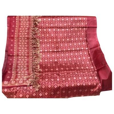 SAHU Maroon Tussar silk Diamond Printed Un-Stitched Dress Material