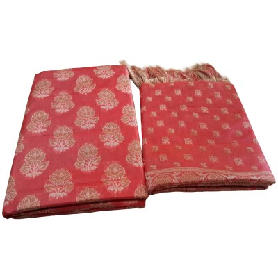 SAHU Red Tussar silk Floral Printed Un-Stitched Dress Material