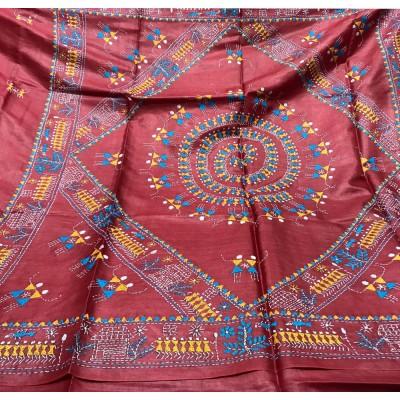 SAHU Red Tussur Silk Kantha Worked Saree