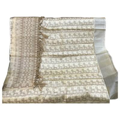 SAHU Off White Tussar silk Geometric Printed Un-Stitched Dress Material