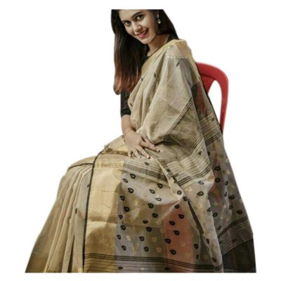 Sahil Beige Cotton Silk Printed Maheshwari Handloom Saree