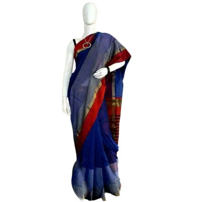 Sahil Navy Blue Cotton Silk Maheshwari Handloom Saree