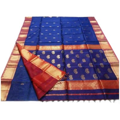 Sahil Blue Cotton Silk Floral Printed Maheshwari Handloom Saree
