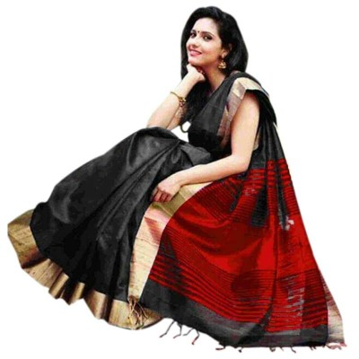 Sahil Black Cotton Silk Maheshwari Handloom Saree