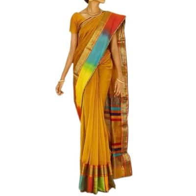 Sahil Mustard Cotton Silk Maheshwari Handloom Saree