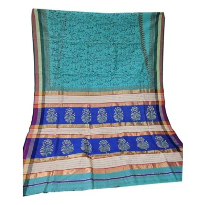 Sahil Blue Cotton Silk Printed Maheshwari Handloom Saree