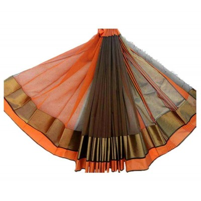 Sahil Orange Cotton Silk Maheshwari Handloom Saree