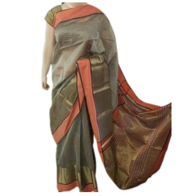 Sahil Beige Cotton Silk Maheshwari Handloom Saree