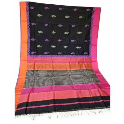 Sahil Black Cotton Silk Printed Maheshwari Handloom Saree