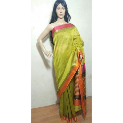 Sahil Green Cotton Silk Maheshwari Handloom Saree