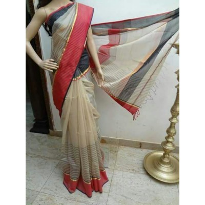 Sahil Off White Cotton Silk Maheshwari Handloom Saree