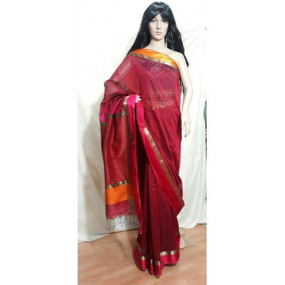 Sahil Maroon Cotton Silk Maheshwari Handloom Saree