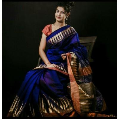 Sahil Blue Cotton Silk Maheshwari Handloom Saree