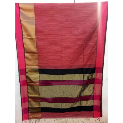 Sahil Pink Cotton Silk Maheshwari Handloom Saree