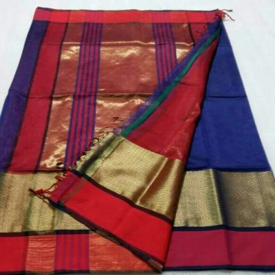 Sahil Blue Cotton Silk Maheshwari Handloom Saree