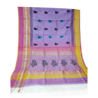 Sahil Lavender Cotton Silk Printed Maheshwari Handloom Saree