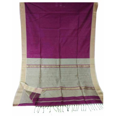 Sahil Magenta Cotton Silk Maheshwari Handloom Saree