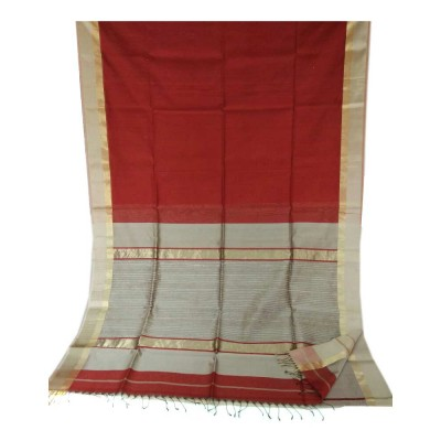 Sahil Red Cotton Silk Maheshwari Handloom Saree