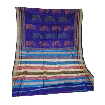 Sahil Royal blue Cotton Silk Printed Maheshwari Handloom Saree