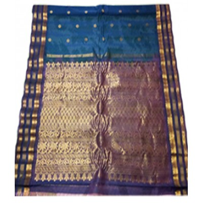 Manchala Dark Blue Silk Gadwal Handloom Saree