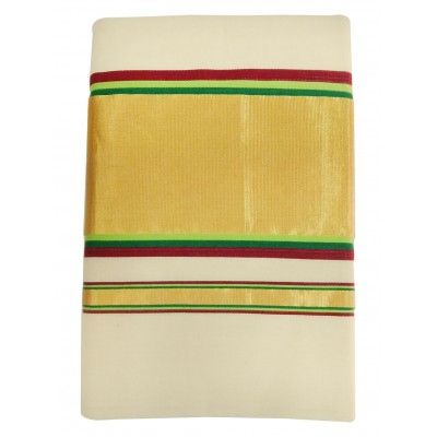 Vanitha Off White Cotton Adachukettu Designed Balarampuram kasavu Handloom Saree