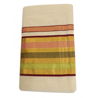 Vanitha Off White Cotton Kambikettu designed Balarampuram kasavu Handloom Saree