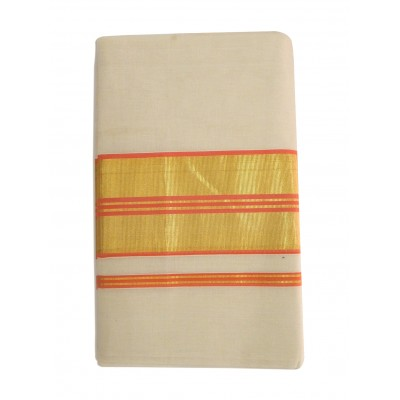 Vanitha Off White Cotton Adachukettu Designed Balaramapuram kasavu Handloom Saree