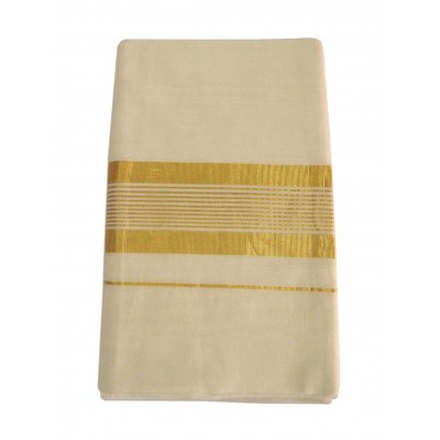Vanitha Off White Cotton Zari Worked Balaramapuram kasavu Handloom Saree