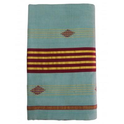 Vanitha Sky Blue Cotton Adachukettu Designed Balaramapuram Handloom Saree