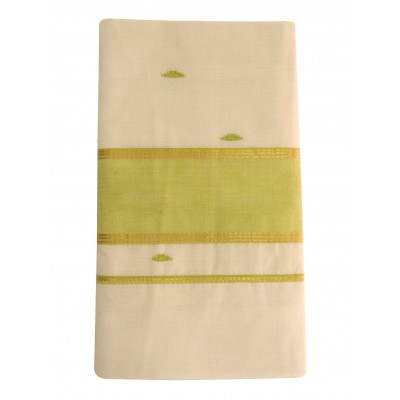 Vanitha Off White Cotton Butta Designed Balaramapuram Handloom Saree