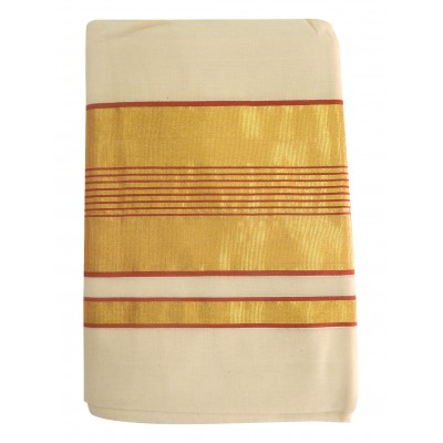Vanitha Off White Cotton Kambikettu designed Balaramapuram Kasavu Handloom Saree