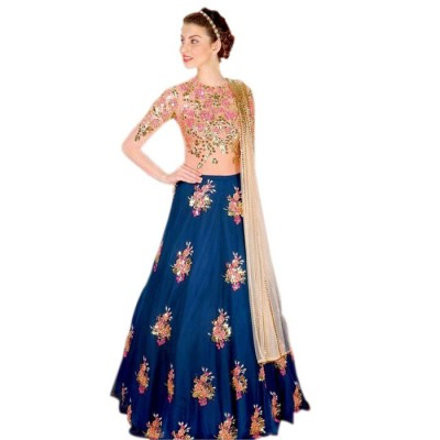 Astha Bridal Blue Tapeta Silk Embroidered Semi-Stitched Lehenga Choli