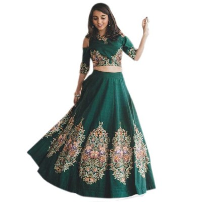 Astha Bridal Green Banglori Silk Semi-Stitched Lehenga Choli