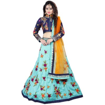 Astha Bridal Blue Banglori Silk Mirror worked Semi-Stitched Lehenga Choli