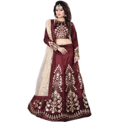 Astha Bridal Maroon Dupion Embroidered Semi-Stitched Lehenga Choli