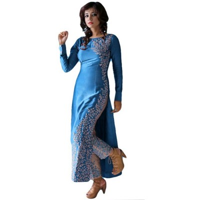Astha Bridal Blue Silk Embroidered Semi-Stitched Dress Material