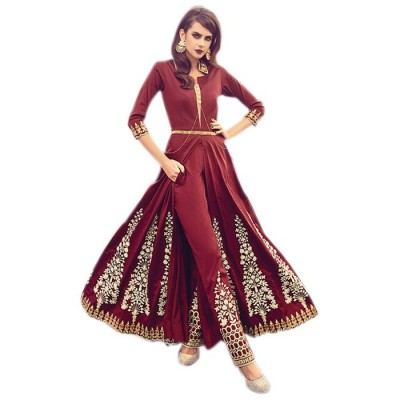 Astha Bridal Maroon Silk Embroidered Semi-Stitched Dress Material